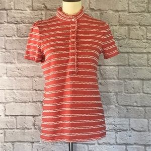 Tory Burch Lidia Polo, coral/white, size small
